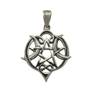 Sterling Silver Heart Pentacle Pendant Pagan Wiccan