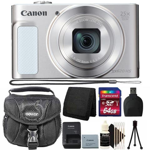Canon PowerShot SX620 HS Digital Camera (White) + 64GB Memory Card + Wallet + Reader + Case + 3pc Cleaning Kit + Mini Tripod