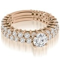 2.15 cttw. 14K Rose Gold Classic Round Cut Basket Diamond Bridal Set - Thumbnail 0