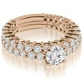 2.15 cttw. 14K Rose Gold Classic Round Cut Basket Diamond Bridal Set - Thumbnail 0