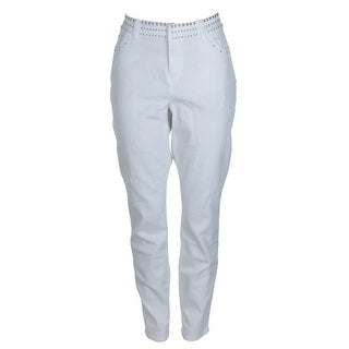 Inc International Concepts White Silver Studded White Skinny Jeans