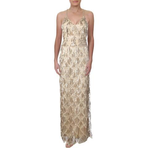 Teeze Me Womens Juniors Evening Dress Sequined Fringe - Gold - 9/10