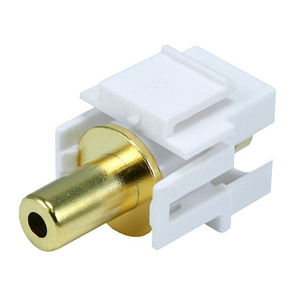 Monoprice 3.5mm TRS Stereo Female/Female Coupler Keystone Jack, Flush Type - White