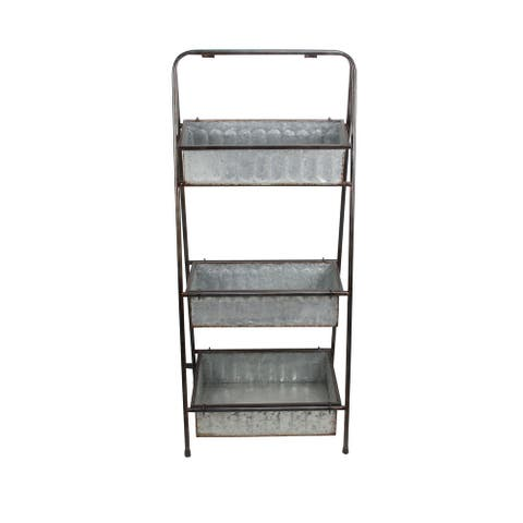 """41"""" Gray and Brown 3 Tier Folding Shelf with Removable Shelf"""