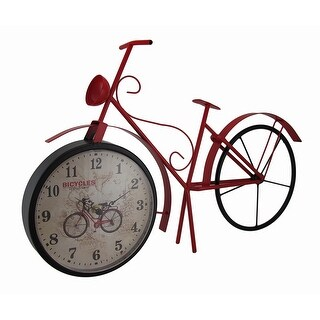 Vintage Style Metal Bicycle Table Clock 20 Inches Long