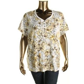 Karen Scott Womens Plus Jersey Floral Print Henley Top