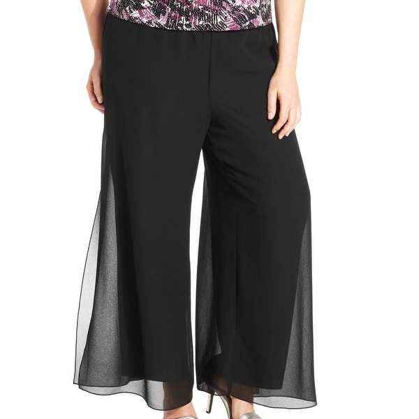 40283a94cb1 Shop Alex Evenings Black Womens Size 3X Plus Chiffon Wide-Leg Dress Pants -  Free Shipping On Orders Over  45 - Overstock - 27566906