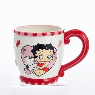 Pack of 3 Betty Boop Betty and Pudgy in a Heart Coffee Mug 15 Ounces