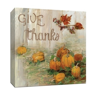 """PTM Images 9-147793  PTM Canvas Collection 12"""" x 12"""" - """"Pumpkin Patch III"""" Giclee Autumn Leaves and Pumpkins Art Print on Canvas"""