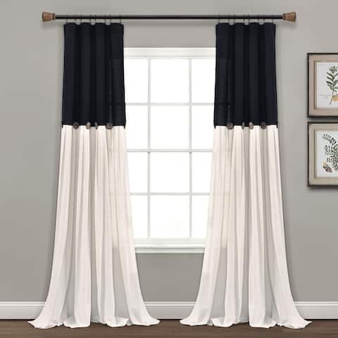 Lush Decor Linen Button Single Panel Window Curtain