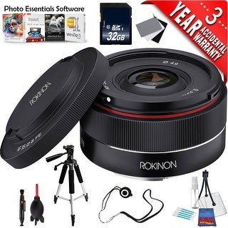 Rokinon AF 35mm f/2.8 FE Lens for Sony E IO35AF-E + Deluxe Cleaning Kit + Full Size Tripod + 32GB Class 10 Memory Card Bundle
