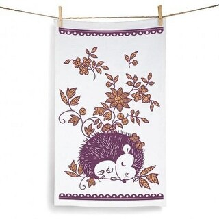 Set of 2 Decorative Purple and Gold Sleeping Hedgehog Kitchen Tea Towels 28