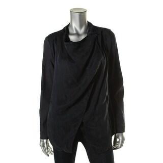 Pure DKNY Womens Petites Linen Blend Handkerchief Hem Jacket - p