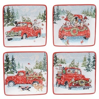 Link to Certified International Special Delivery 6-inch Canape/Luncheon Plates (Set of 4) Similar Items in Christmas Entertaining