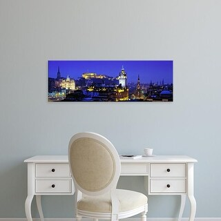 Easy Art Prints Panoramic Images's 'Buildings lit up at night with a castle, Edinburgh Castle, Scotland' Canvas Art