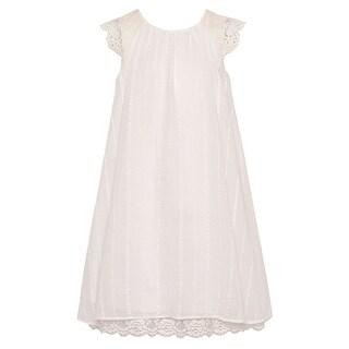 Bonnie Jean Girls Ivory Lace Trim Cut-Out Back Tie Accent Dress