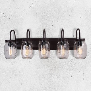 5-Light Mason Jar Vanity Fixture with Glass Shade