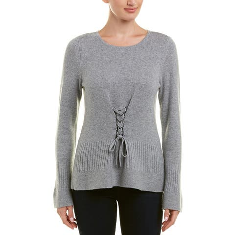 Design History Peplum Cashmere Sweater - FELT GREY HEATHER