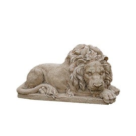 "20.5"" Distressed Sandy Tan Brown Resting Lion Outdoor Patio Garden Statue"