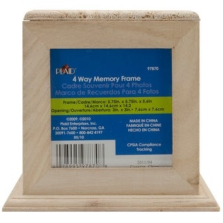 "Wood Memory Box Cube W/4 Picture Frames-5.75""X5.75""X5.5"", 3. - 5.75""x5.75""x5.5"", 3.25""x3.25"" openings"