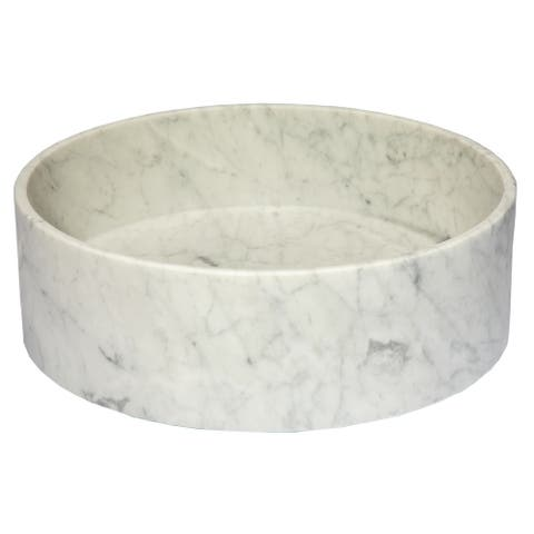 Eden Bath Carrera Marble Thin Lip Round Column Vessel Sink