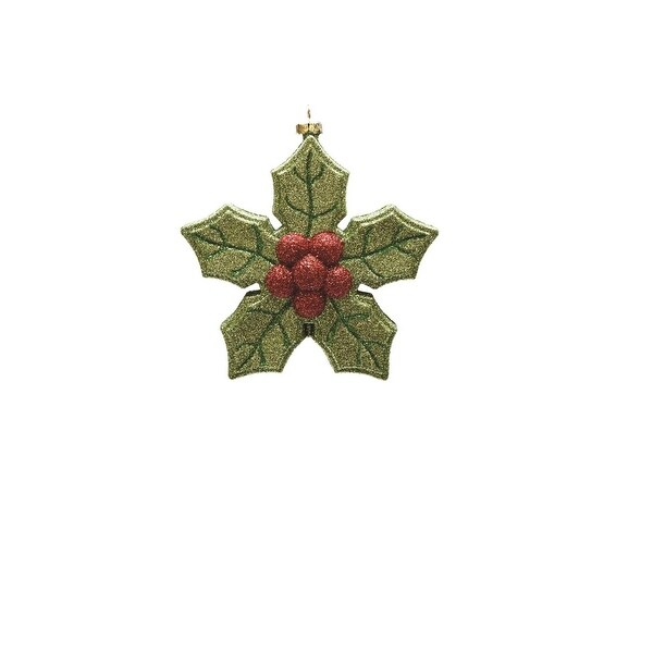 "5.25"" Merry & Bright Green and Red Glitter Shatterproof Poinsettia Christmas Ornament"