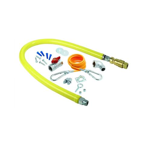 "T and S Brass HG-4D-48K 48"" Safe-T-Link Gas Appliance Connector with - Yellow"
