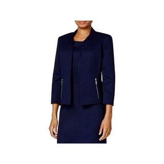Kasper Womens Petites Collarless Blazer Jacquard Long sleeve
