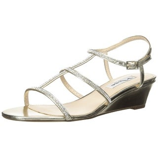 Nina Womens FLORIA Open Toe Ankle Strap Wedge Pumps