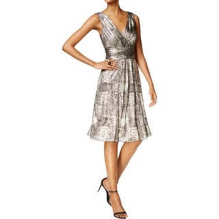Connected Apparel Womens Casual Dress Metallic V Neck