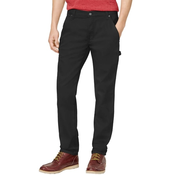 82d7a54d Dickies Big and Tall Slim Fit Tapered Leg Black Solid Flex Stretch Jeans 44  x 30