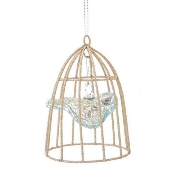 "4.5"" Silent Luxury Transparent Sky Blue Mercury Glass Bird in Cage Christmas Ornament"