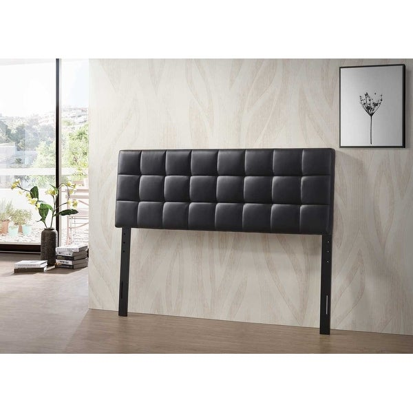 Varya Tufted Faux Leather Upholstered Panel Headboard (Brown/ Black). Opens flyout.