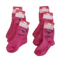 Barbie Little Girls Pink Professional Print 6 Piece Pack Socks 4-6.5