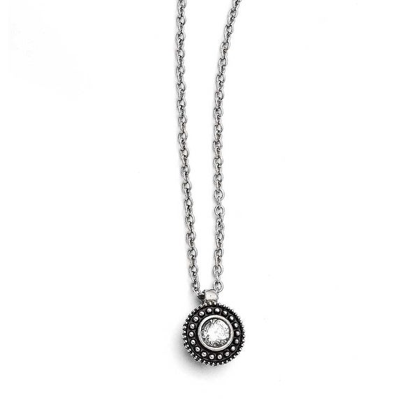 Chisel Stainless Steel CZ Antiqued Circle Necklace (1 mm) - 18 in