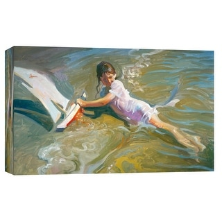 "PTM Images 9-101717  PTM Canvas Collection 8"" x 10"" - ""Girl With Boat"" Giclee Children Art Print on Canvas"