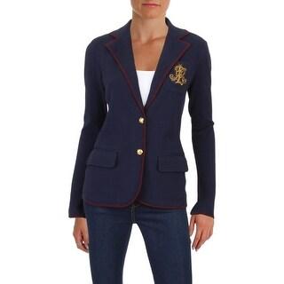 Lauren Ralph Lauren Womens Alvarta Blazer Bullion-Crest Monogram