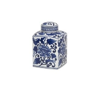 "8.5"" Stoviglie D'Epoca Blue and White Small Antique-Style Ceramic Jar With Removable Lid"