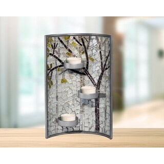 """11"""" Gray and Brown Glossy Finished Decorative Fall Mosaic Candle Holder"""