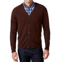 Weatherproof NEW Espresso Brown Mens LT Button Down Cardigan Sweater