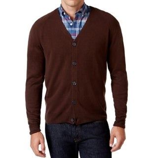 Weatherproof NEW Espresso Brown Mens LT Button Down Cardigan Sweater