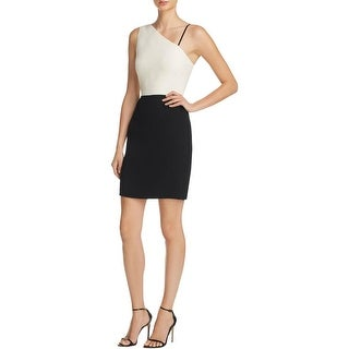 Elizabeth and James Womens Marie Cocktail Dress Colorblock One Shoulder