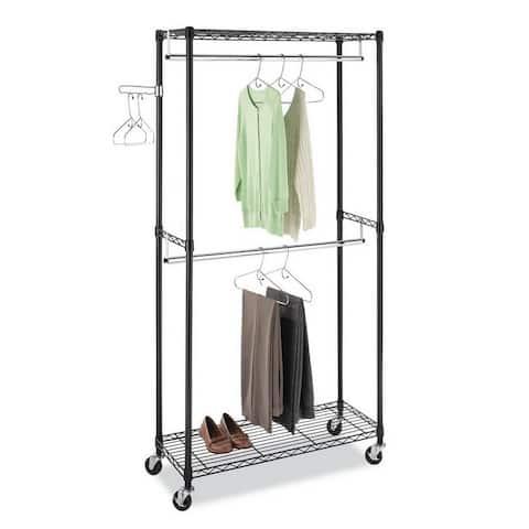 Heavy Duty Closet Organizer Garment Rack Clothes Hanger Storage Shelf