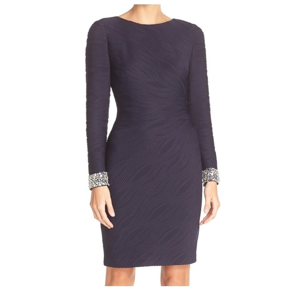 Eliza J Blue Womens Size 4 Embellished Textured Sheath Dress