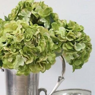 "FloralGoods Silk Serrated Petal Hydrangea Stem in Green 28"" Tall"