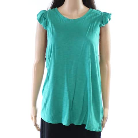 Gibson Apple Womens Large Scoop Neck Ruffle Top