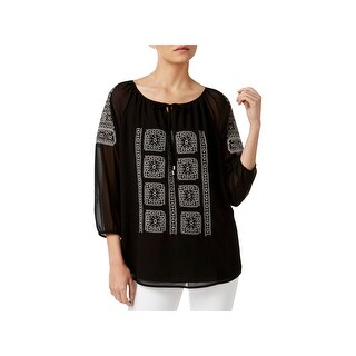Calvin Klein Womens Casual Top Embroidered Ruched Sleeves