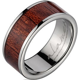 Titanium Wedding Band With Koa Wood Inlay 8 mm