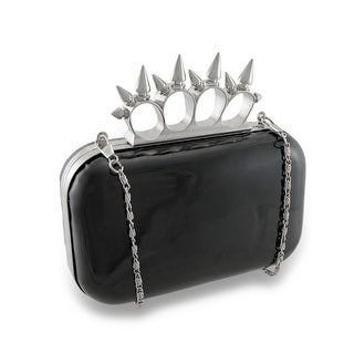 High Gloss Hard Shell Knuckle Duster Clutch Purse w/Removable Chain