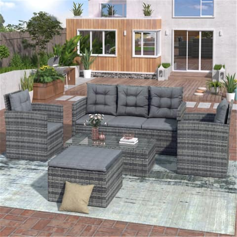 Direct Wicker 5-piece Outdoor UV-proof Patio Sofa Set with Storage Bench All Weather PE Wicker Furniture Coversation Set